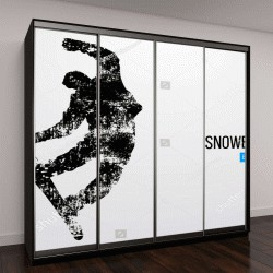 """Шкаф купе с фотопечатью """"Силуэт сноубордиста точечный"""""""