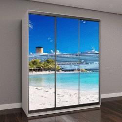 """Шкаф купе с фотопечатью """"Круиз на Карибы с пальмой на пляже с коралловым песком """""""