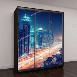 """Шкаф купе с фотопечатью """"Впечатляющий ночной пейзаж большого современного города в ночное время """""""