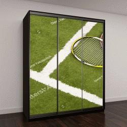 """Шкаф купе с фотопечатью """"Оборудование для игры в теннис на траве"""""""