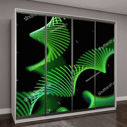 """Шкаф купе с фотопечатью """"светящиеся зеленым спирали на черном фоне"""""""