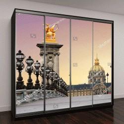 """Шкаф купе с фотопечатью """"Красивый восход солнца, мост Александра III и дом инвалидов в Париже"""""""
