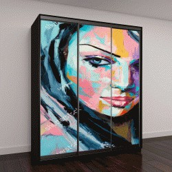 """Шкаф купе с фотопечатью """"Фантазия, женский портрет, живопись на холсте"""""""