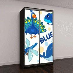"""Шкаф купе с фотопечатью """"Набор диких животных, птиц, рептилий и насекомых для детей и синий дизайн"""""""