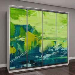 """Шкаф купе с фотопечатью """"Абстрактное искусство, зеленый фон"""""""
