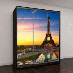 """Шкаф купе с фотопечатью """"Восход солнца в Париже, с Эйфелевой башни"""""""