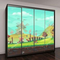 """Шкаф купе с фотопечатью """"мультфильм европейский пейзаж с мельницей"""""""