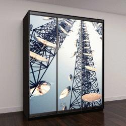 """Шкаф купе с фотопечатью """"Три высоких телекоммуникационных башни с антеннами """""""