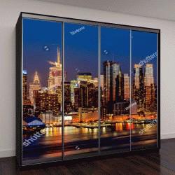 """Шкаф купе с фотопечатью """"Нью-Йорк, ночная панорама Манхэттена """""""