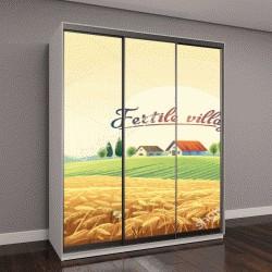 """Шкаф купе с фотопечатью """"Сельский пейзаж с пшеничного поля и деревни на холме"""""""