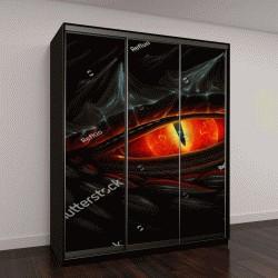 """Шкаф купе с фотопечатью """"Светящиеся красные глаза черного дракона"""""""