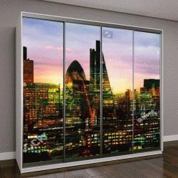 """Шкаф купе с фотопечатью """"Лондона на закате, снимок в режиме многократной экспозиции"""""""