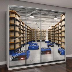 """Шкаф купе с фотопечатью """"3D визуализация сборки складского робота на заводе"""""""