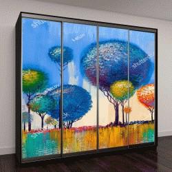 """Шкаф купе с фотопечатью """"Картина маслом, пейзаж, красочные деревья"""""""