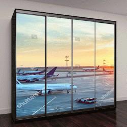 """Шкаф купе с фотопечатью """"аэропорт с самолетами на фоне красивого заката"""""""