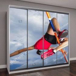 """Шкаф купе с фотопечатью """"спортсменка на прыжках в высоту в легкой атлетике"""""""