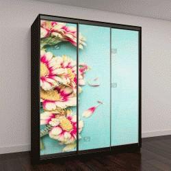 """Шкаф купе с фотопечатью """"Прекрасные цветы на бирюзовом фоне потертый шик"""""""