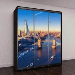 """Шкаф купе с фотопечатью """"Вид с воздуха, пейзаж Лондона и реки Темзы, Англия, Великобритания"""""""