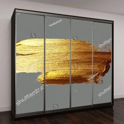 """Шкаф купе с фотопечатью """"рука рисунок золото кисти пятна краски на сером фоне, векторные иллюстрации ручной работы"""""""