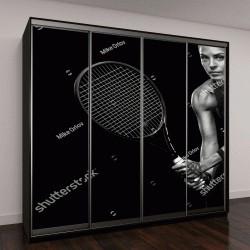 """Шкаф купе с фотопечатью """"Красивая девушка теннисистка с ракеткой на темном фоне с огнями"""""""