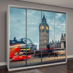"""Шкаф купе с фотопечатью """"Двухэтажный автобус в ночном Лондоне"""""""