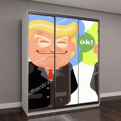 """Шкаф купе с фотопечатью """"карикатура Дональд Трамп и Ким Чен Ын"""""""