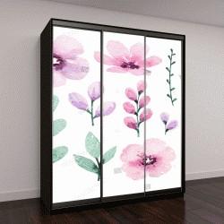 """Шкаф купе с фотопечатью """"Акварельные цветы"""""""