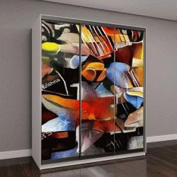 """Шкаф купе с фотопечатью """"Букет красивых цветов в стиле модерн и кубизм Пикассо"""""""