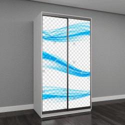 """Шкаф купе с фотопечатью """"Абстрактная голубая волна на прозрачном фоне"""""""