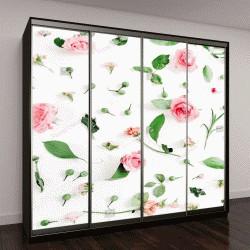 """Шкаф купе с фотопечатью """"узор из розовых и бежевых роз, зеленые листья, ветви на белом фоне"""""""