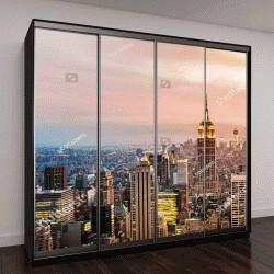 """Шкаф купе с фотопечатью """"Нью-Йорк Skyline с городских небоскребов на закате"""""""