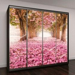 """Шкаф купе с фотопечатью """"Романтический туннель, розовые цветы деревьев"""""""