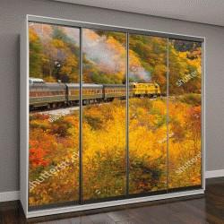 """Шкаф купе с фотопечатью """"поезд на живописной железной дороге Конуэй Кроуфорд Нотч, Нью-Гэмпшир"""""""