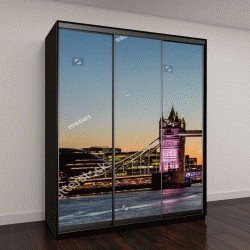 """Шкаф купе с фотопечатью """"Тауэрский мост в Лондоне на закате"""""""