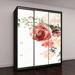 """Шкаф купе с фотопечатью """" акварельные цветы"""""""