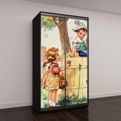 """Шкаф купе с фотопечатью """"открытка ГДР: девочка протягивает яблоко мальчику"""""""