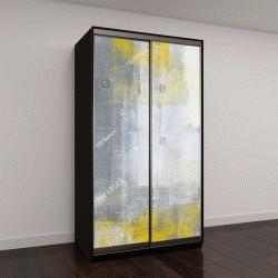 """Шкаф купе с фотопечатью """"Серый и желтый абстрактное искусство живопись"""""""