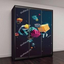 """Шкаф купе с фотопечатью """"Разноцветные декоративные кубики"""""""