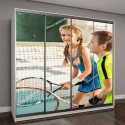 """Шкаф купе с фотопечатью """"Радостные дети веселятся на теннисном корте"""""""