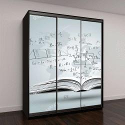 """Шкаф купе с фотопечатью """"Математические формулы и графики на открытой книге"""""""