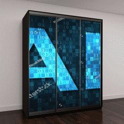 """Шкаф купе с фотопечатью """"Искусственный интеллект иллюстрация с синим текстом ИИ за двоичный код Матрицы фоне"""""""