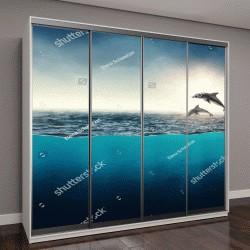 """Шкаф купе с фотопечатью """"Абстрактный фон с дельфинами в океане"""""""