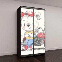 """Шкаф купе с фотопечатью """"Милый медведь возле мотоцикла """""""