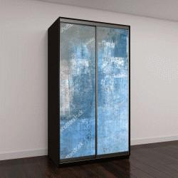 """Шкаф купе с фотопечатью """"Серый и синий абстрактный искусства картина"""""""