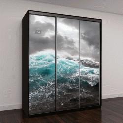 """Шкаф купе с фотопечатью """"морской волны и темные тучи на фоне"""""""