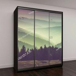 """Шкаф купе с фотопечатью """"Туманные летние горы пейзаж"""""""