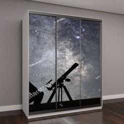 """Шкаф купе с фотопечатью """"Человек с телескопом смотрит на звезды"""""""