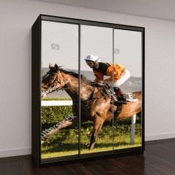 """Шкаф купе с фотопечатью """"Конные скачки, жокей и его лошадь """""""