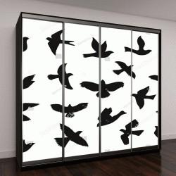 """Шкаф купе с фотопечатью """"летящие силуэты птиц"""""""