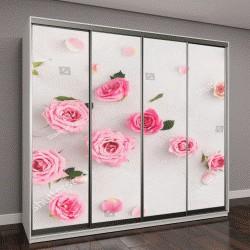 """Шкаф купе с фотопечатью """"розы разных размеров"""""""